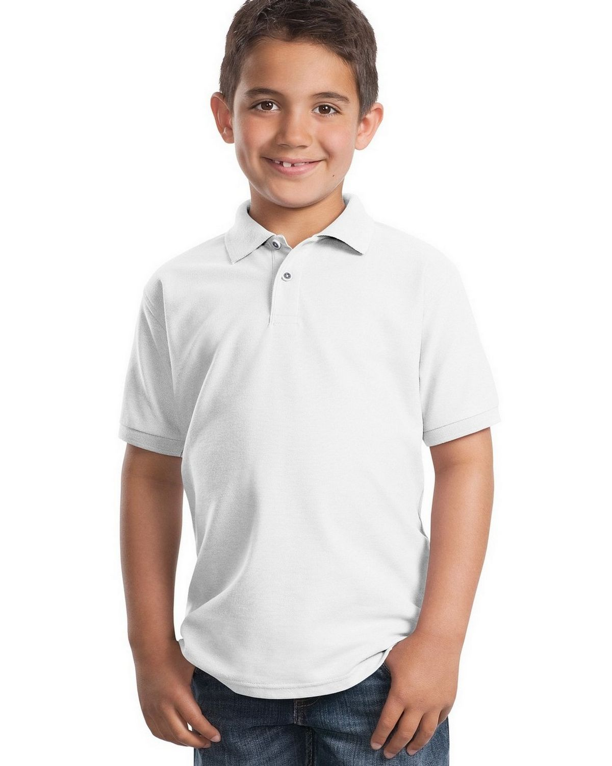 Port Authority Y500 Youth Silk Touch Polo - White - XS #silk