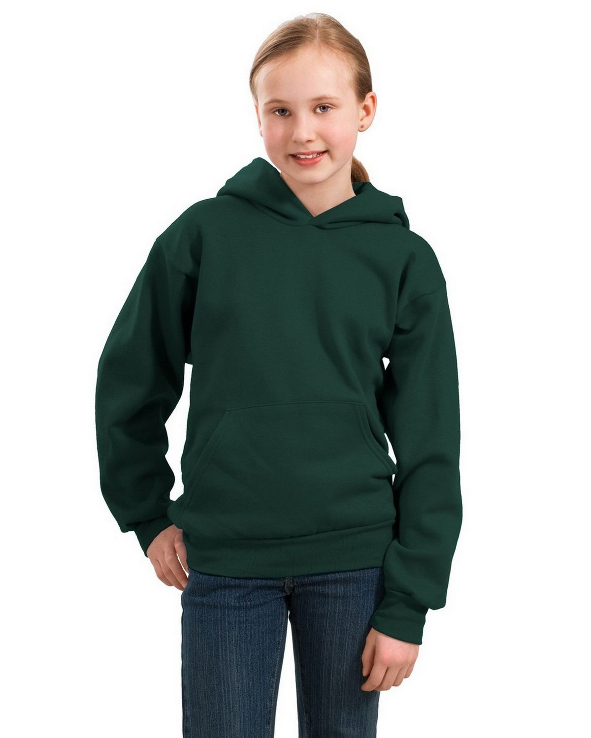 Port & Company PC90YH Youth Pullover Hooded Sweatshirt - Dark Green - XS PC90YH