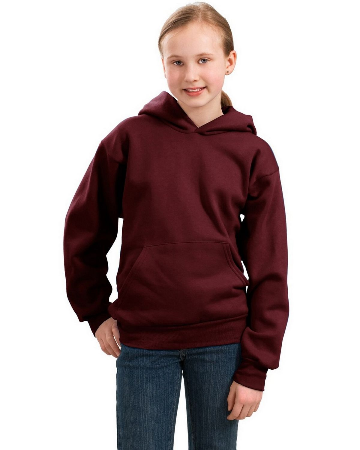 Port & Company PC90YH Youth Pullover Hooded Sweatshirt - Maroon - XS PC90YH