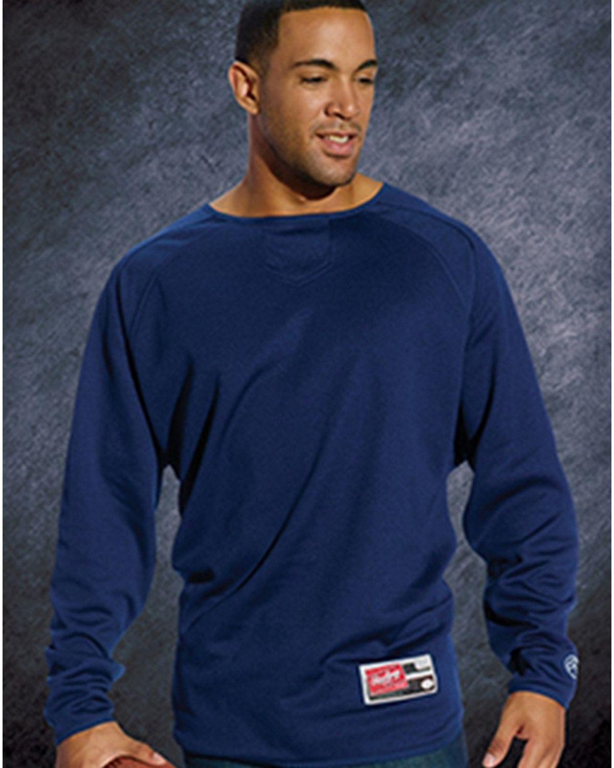 Rawlings RP9705 Adult Flatback Mesh Fleece Pullover - Navy - 5X RP9705