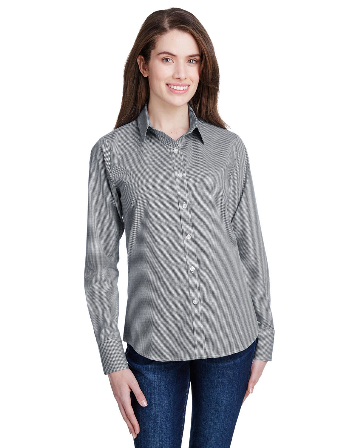Artisan Collection RP320 Women's Microcheck Gingham Long-Sleeve Cotton Shirt