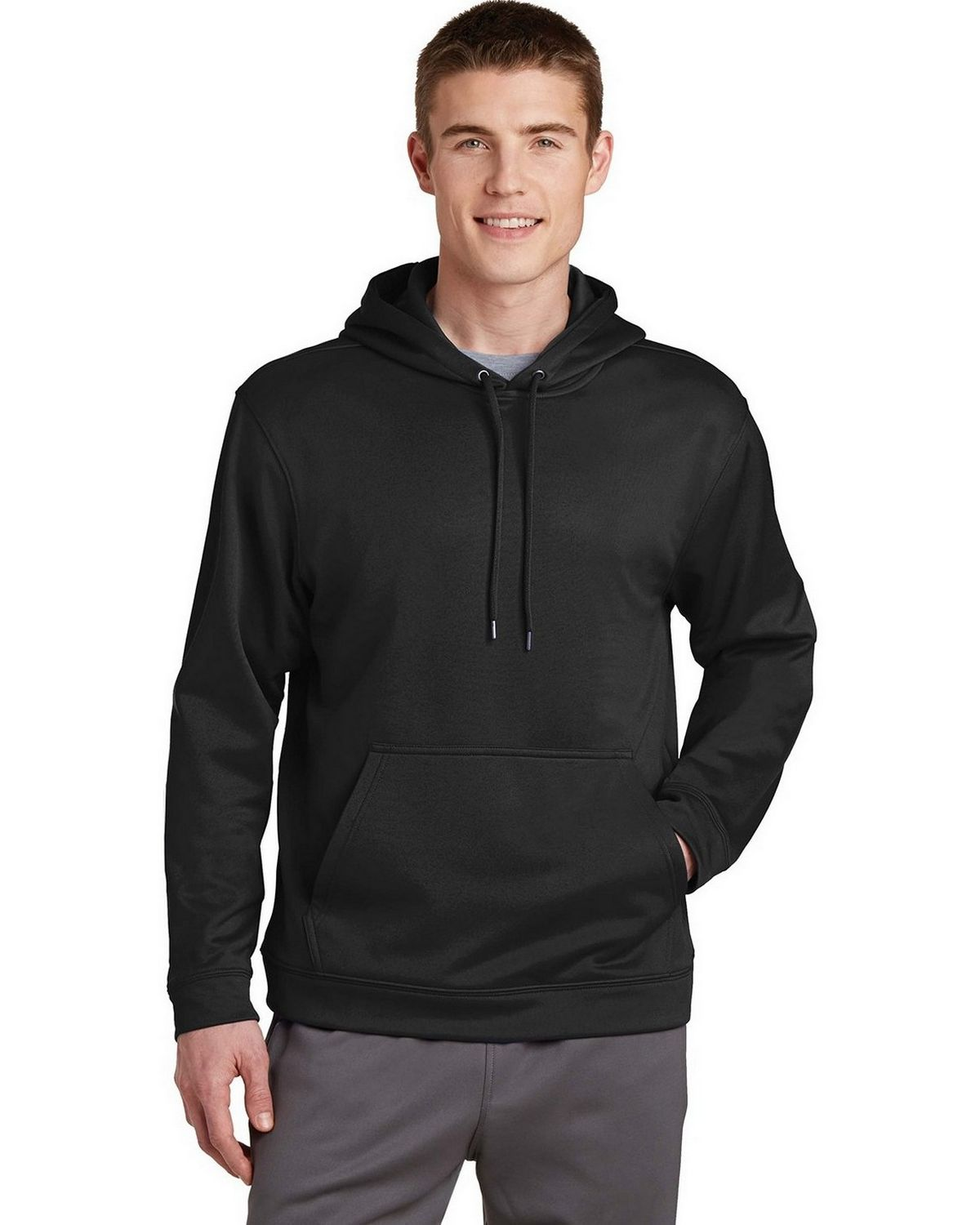 Sport-Tek F244 Sport-Wick Fleece Hooded Pullover - Black - M F244
