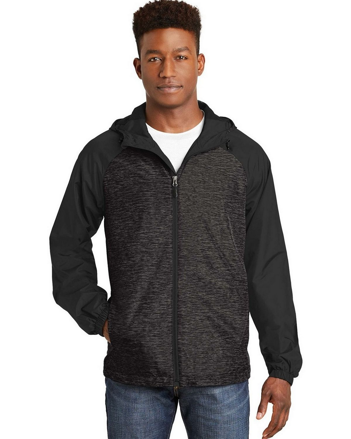 Sport-Tek JST40 Raglan Hooded Jacket - True Royal Heather/Black - L JST40