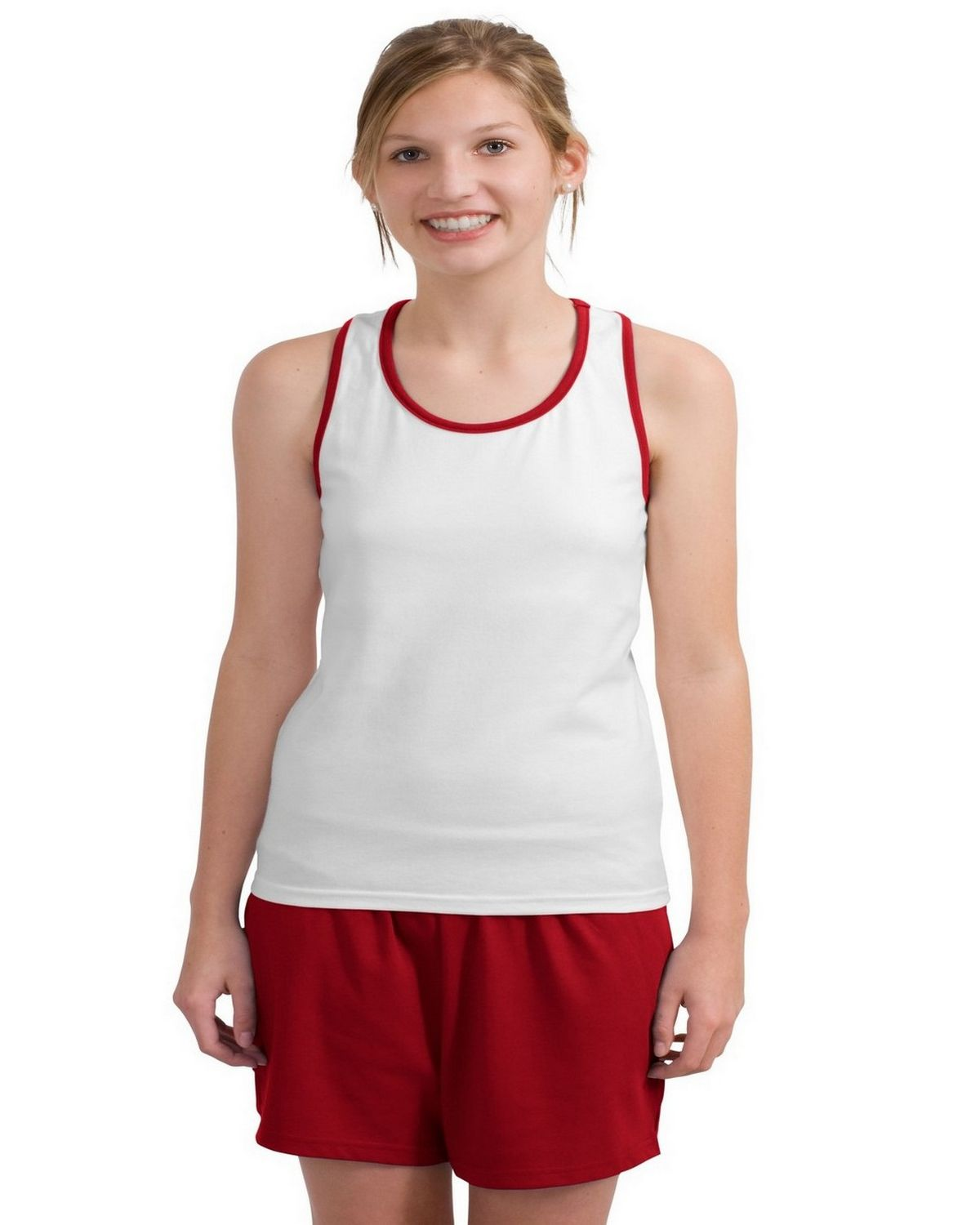 Sport-Tek L204 Ladies Racerback Gym Tank - White/Red - 1X L204