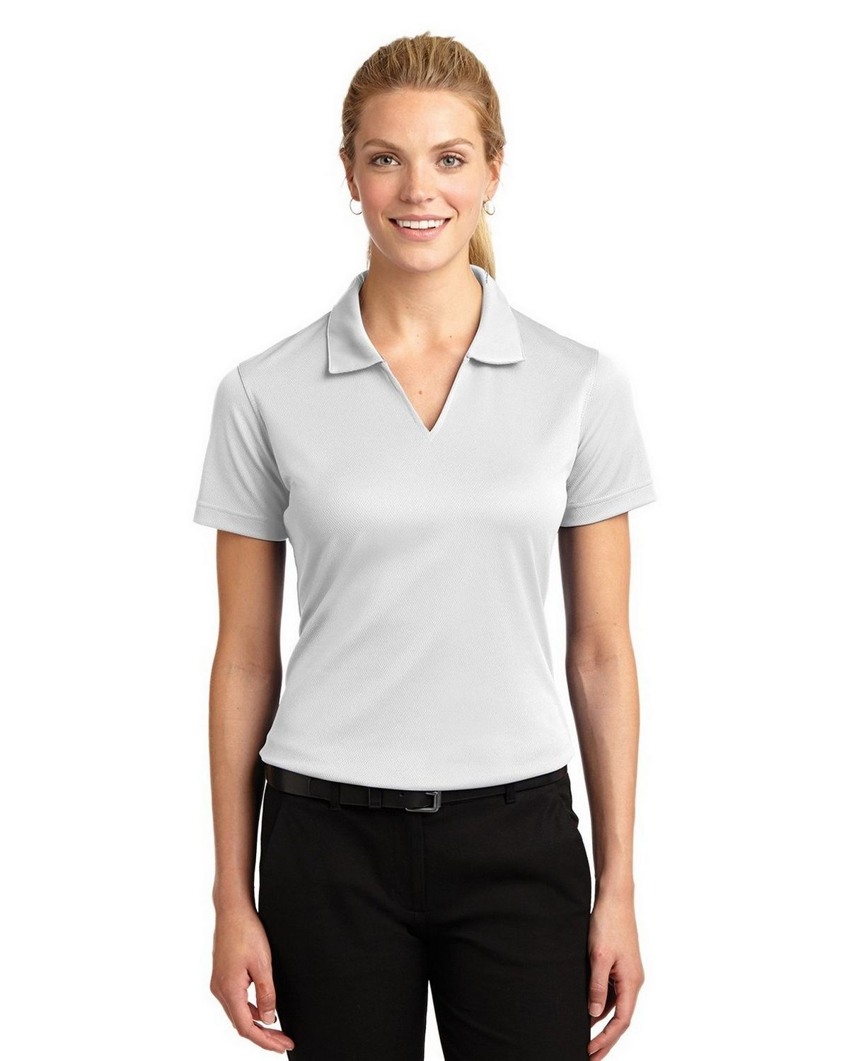 e37a399244c80 Sport-Tek L469 Ladies Dri-Mesh V-Neck Polo by Port Authority ...