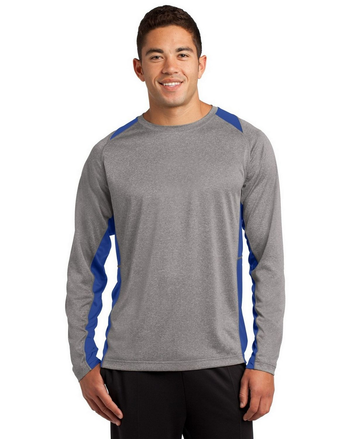 Sport-Tek ST361LS Heather Colorblock Contender Tee - Vintage Heather/True Royal - XS ST361LS