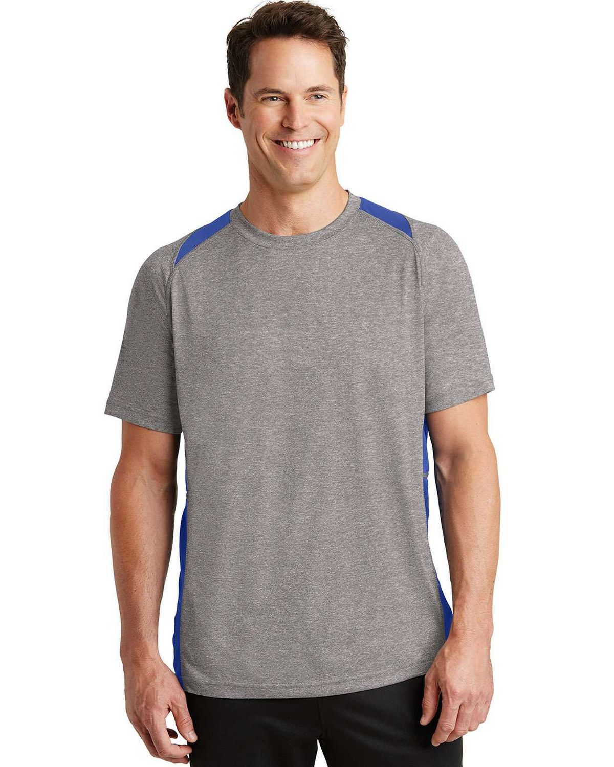 Sport-Tek ST361 Heather Colorblock Contender Tee - Vintage Heather/True Royal - XS ST361