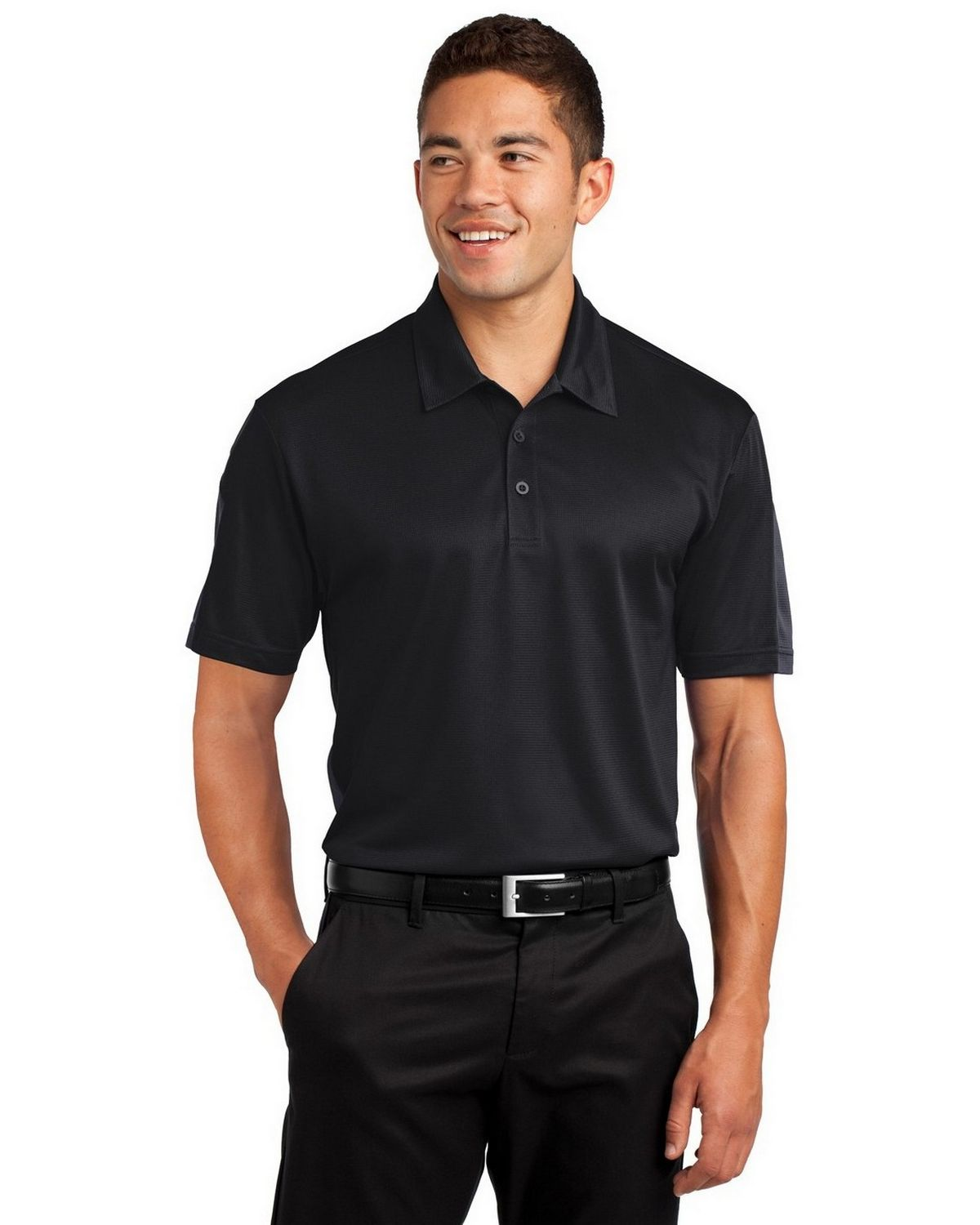 Sport-Tek ST695 Active Textured Colorblock Polo - Black/True Red - XS ST695