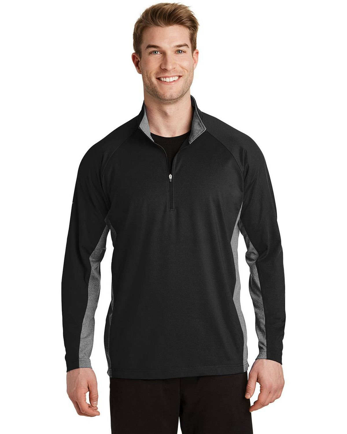 Sport-Tek ST854 Mens 1/2 Zip Pullover - Black/ Charcoal Grey Heather - XS ST854