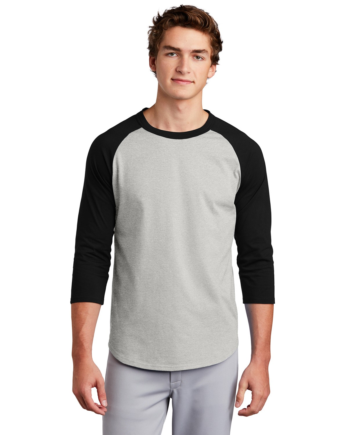 Sport-Tek T200 Colorblock Raglan Jersey - White/Heather Grey - XL T200