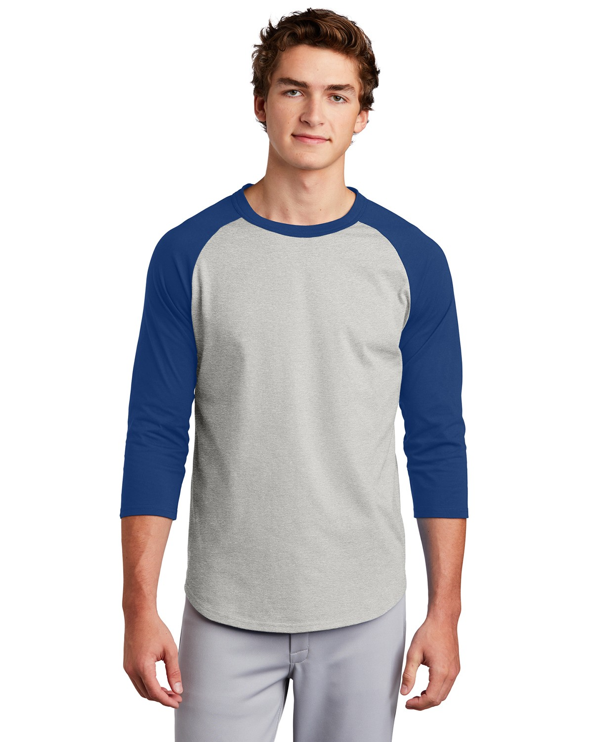 Sport-Tek T200 Colorblock Raglan Jersey - Heather Grey/Royal - XL T200