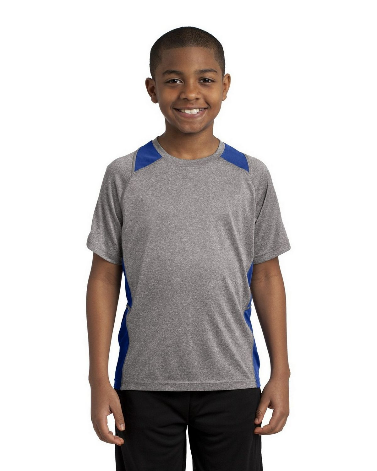 Sport-Tek YST361 Youth Heather Colorblock Contender Tee - Vintage Heather/True Royal - XS YST361