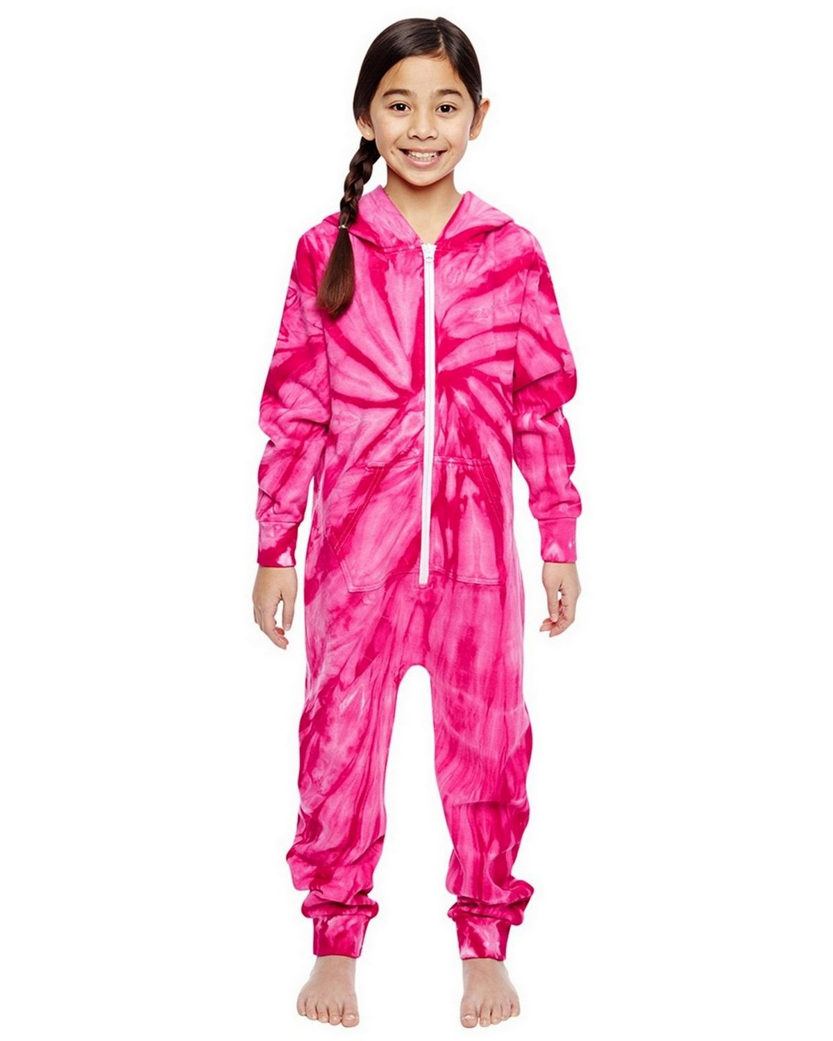 Tie-Dye CD892Y Youth All-In-One Loungewear - Spider Pink - L CD892Y