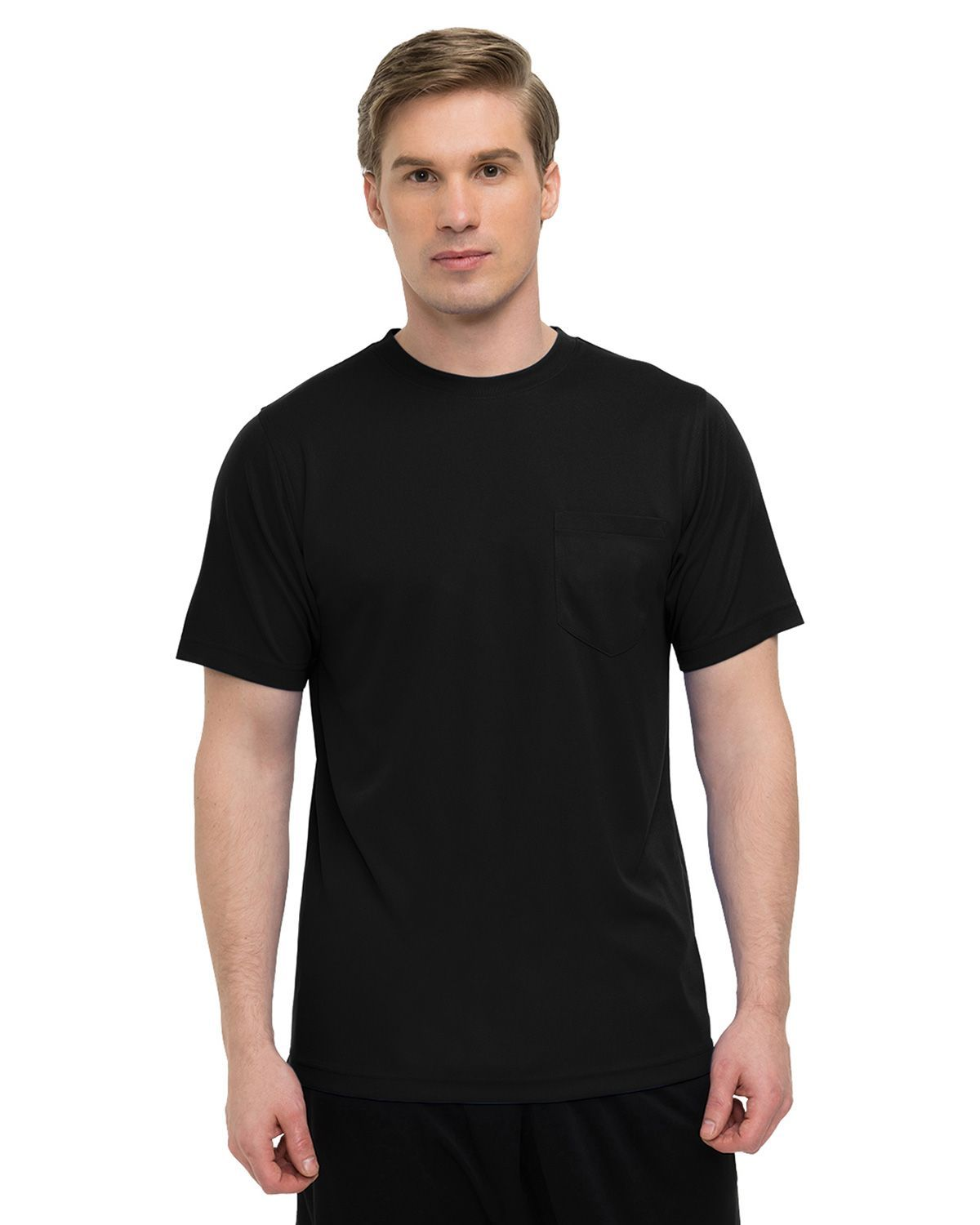 Tri-Mountain Performance K020PCN Short Sleeve Crewneck shirt - Black - XLT K020PCN