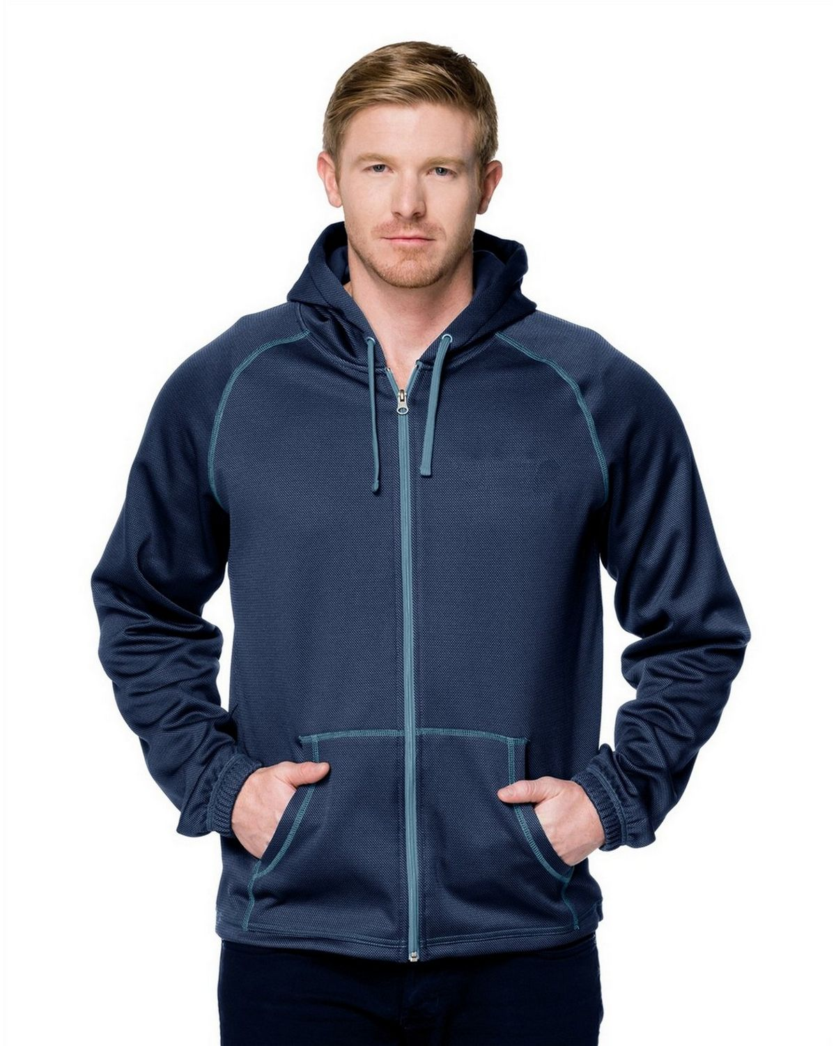 Tri-Mountain Racewear F7173 Full Zip Hoody - Navy/Slate Blue - M F7173