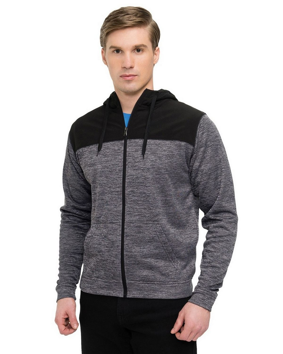 Tri-Mountain Performance F7455 Mens Full Zip Jacket - Charcoal/Black - S F7455