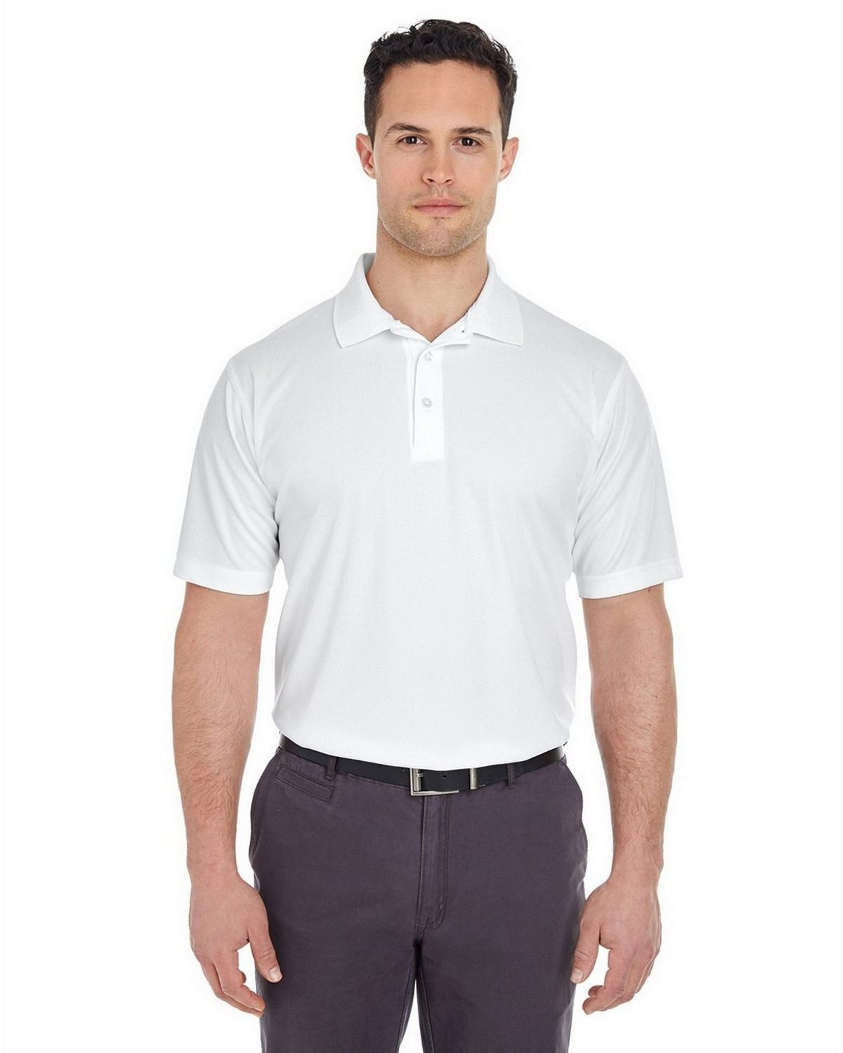 Pack of 5 White Medium. UltraClub Mens Cool /& Dry Classic Polo Shirt