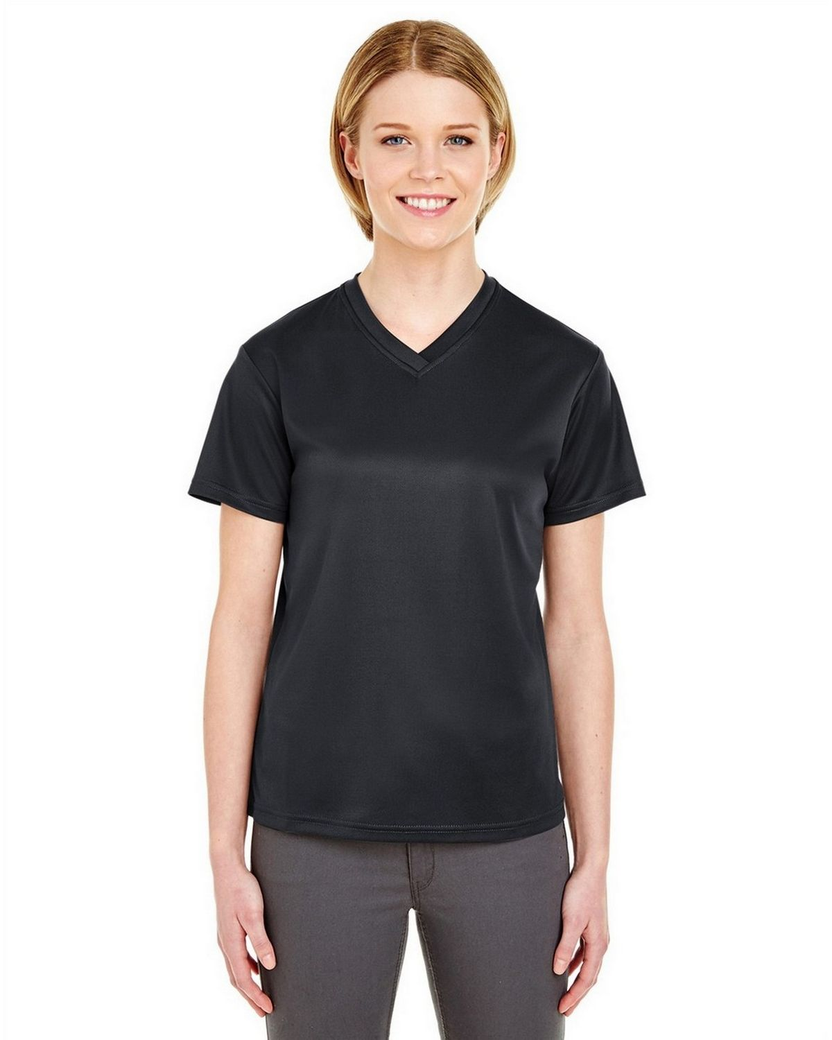 Ultraclub 8400L V-Neck Tee - Black - S 8400L