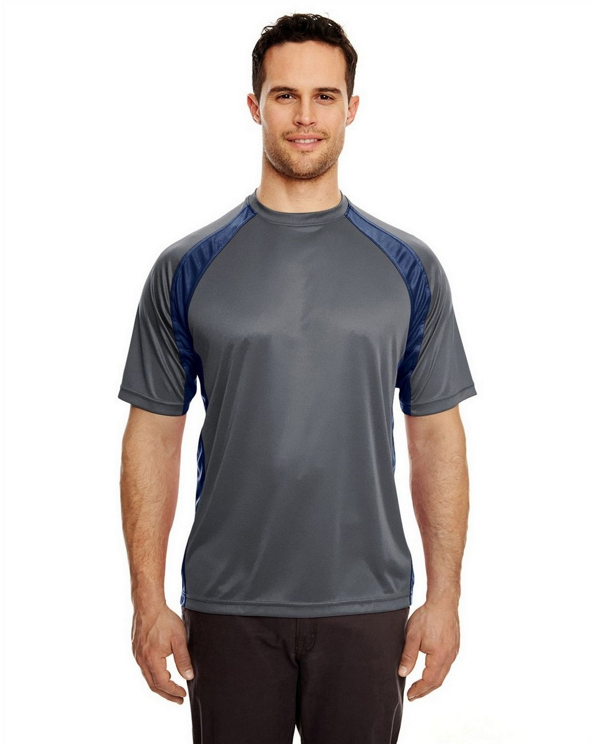 Ultraclub 8421 Sport Two Tone Performance Tee - Charcoal/Navy - L 8421