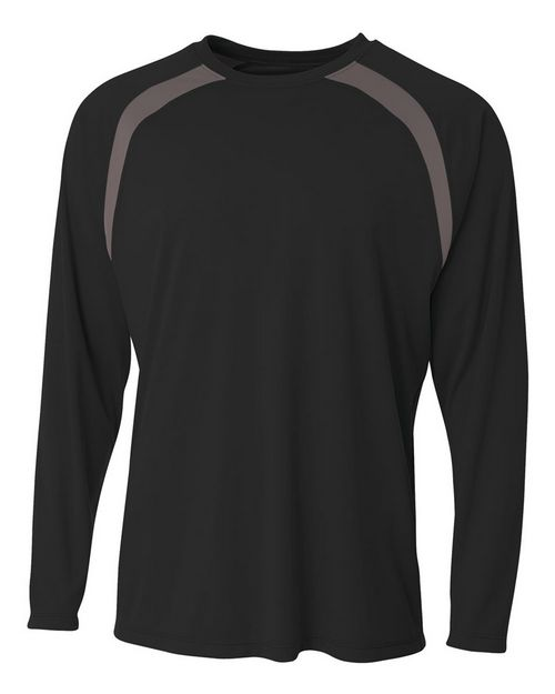 A4 N3003 Mens Spartan Long Sleeve Color Block Crew Neck T-Shirt