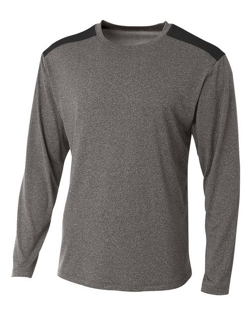 A4 N3101 Mens Tourney Heather Color Block Long Sleeve T-Shirt