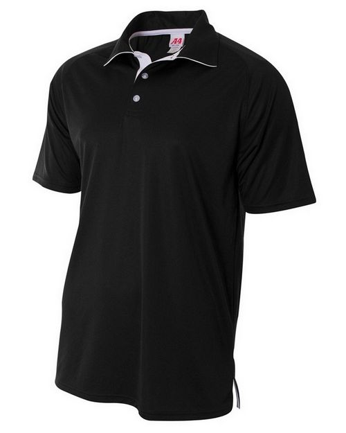 A4 N3293 Adult Interlock Contrast Polo
