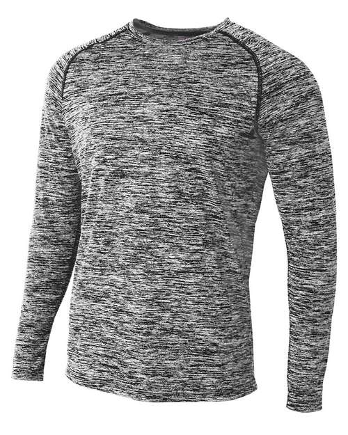 A4 N3305 Mens Space Dye Long Sleeve Raglan T-Shirt