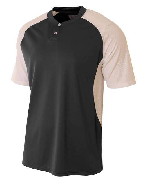 A4 N3315 Mens Performance Contrast Two Button Baseball Henley T-Shirt