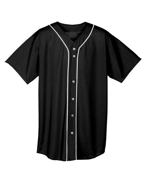 A4 N4184 Adult Short Sleeve Full Button Baseball Top