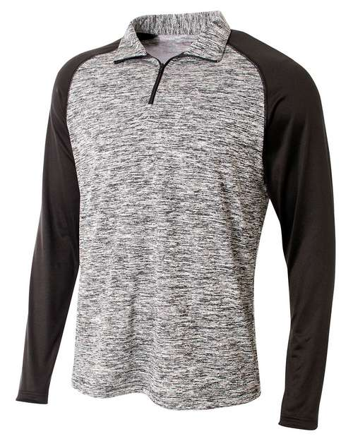A4 N4249 Mens Space-Dye Contrast Sleeve 1/4 Zip Pullover