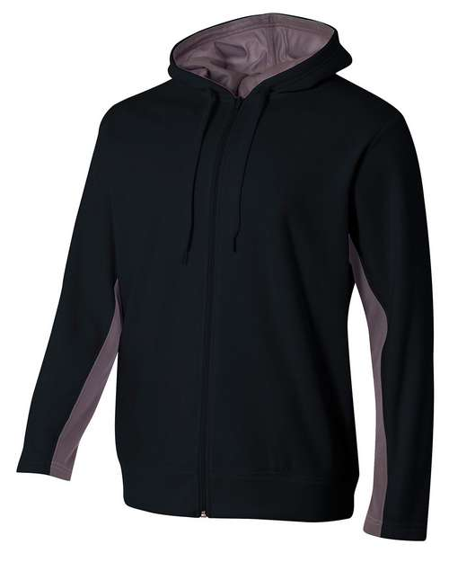 A4 N4251 Mens Tech Fleece Full Zip Hooded Sweatshirt