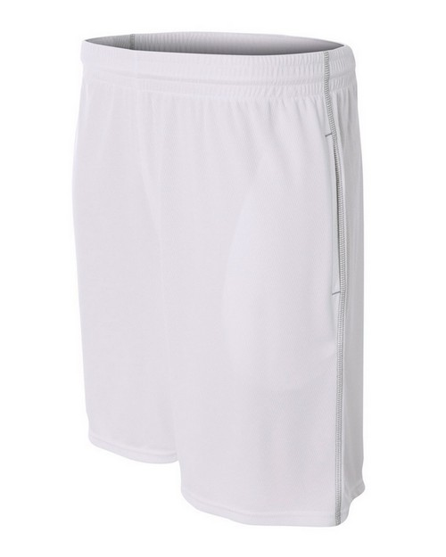 A4 N5340 Adult Flat Back Mesh Shorts