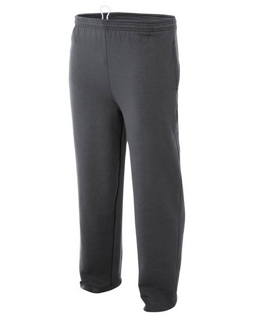 A4 N6189 Adult Combed Ring-Spun Blended CVC Fleece Open Bottom Pant