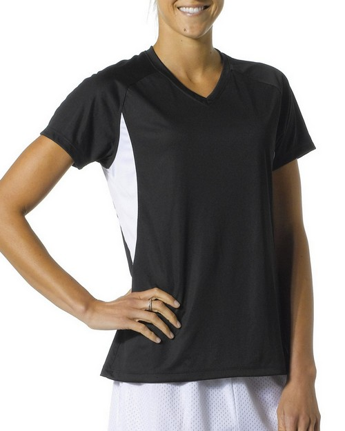A4 NW3223 Ladies' Color Block Performance Cooling V-Neck Tee