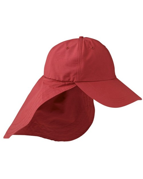 Adams EOM101 6-Panel Cap with Elongated Bill and Neck Cap