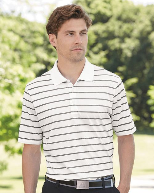 Adidas Golf A196 Mens PUREMOTION 2-Color Stripe Jersey Sport Shirt