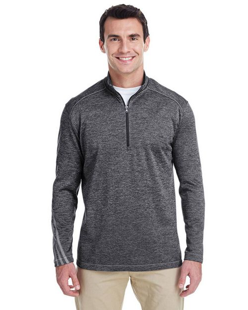 Adidas Golf A284 Mens Three Stripes Heather Quarter-Zip Pullover