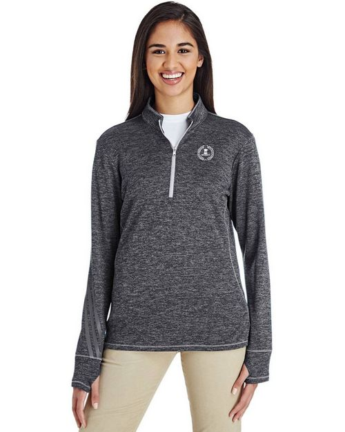Adidas Golf A285 Ladies Three Stripes Heather Quarter-Zip Pullover