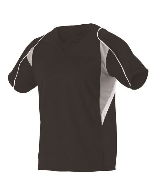 Alleson Athletic A00016 Youth Two Button Henley Baseball Jersey