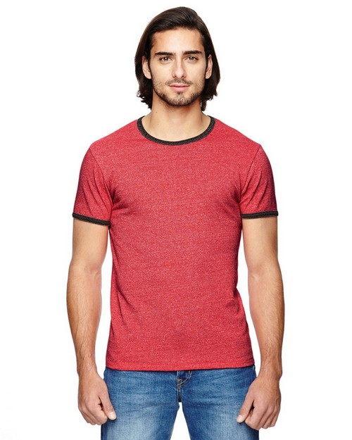 Alternative 01957E Mens Eco Mock Twist Ringer Crew Neck T-Shirt