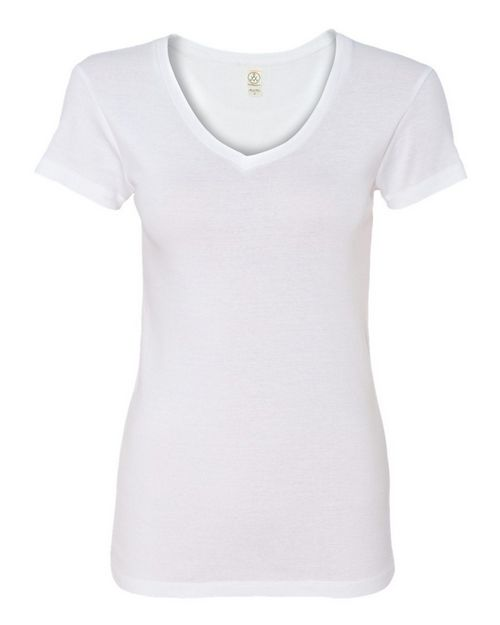 Alternative 1211 Womens 1x1 Baby Rib V-Neck T-Shirt