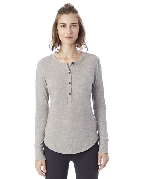 Alternative 2887 Womens Donna Organic Pima Cotton Henley with Pocket