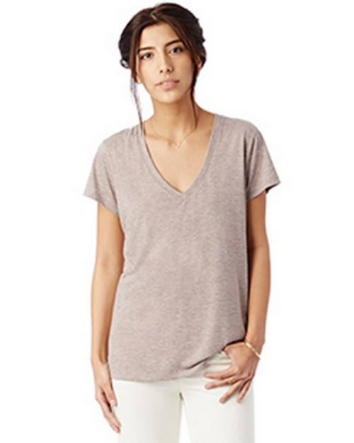 Alternative 2894B2 Ladies Melange Burnout Slinky V-Neck T-Shirt