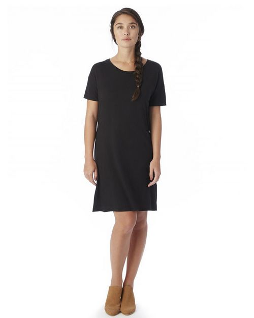 Logo Embroidered Alternative 2902 Womens Straight Up Cotton Modal T-Shirt Dress