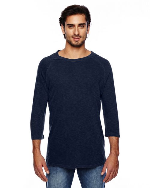 Alternative 32410JJ Mens Washed Slub Baseball Tee