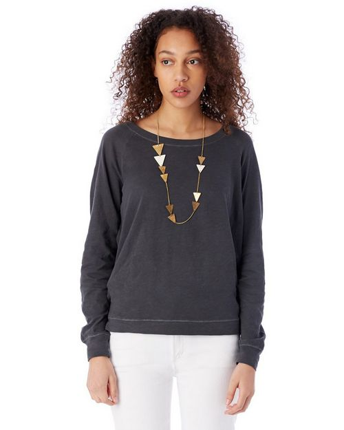 Alternative 61061 Womens Slouchy Washed Slub Pullover Sweatshirt