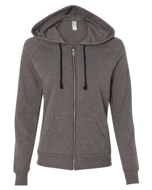 Alternative 9573ey Womens Eco-Mock Twist Adrian Hooded Full-Zip Sweatshirt