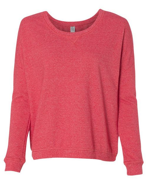 Alternative 9833 Womens Eco Mock Twist French Terry Sunset Crewneck Pullover