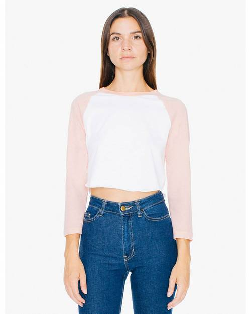 American Apparel ABB354W Ladies Poly Cotton 3/4 Sleeve Cropped T-Shirt