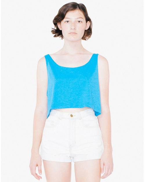 American Apparel Logo Embroidered Loose Crop Tank Top - For Women